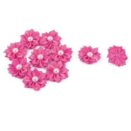 Satin Handmade Wedding DIY Ornament Ribbon Flower Dark Pink 40 x 40mm -