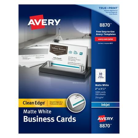 Avery True Print Clean Edge Business Cards, Inkjet, 2 x 3 1/2, White, 1000/Box