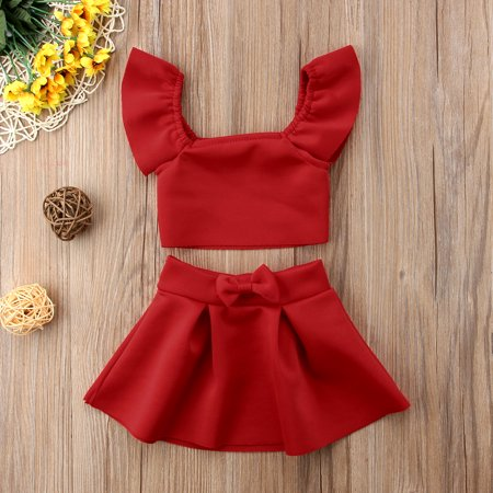 e735c3ba55 2Pcs Newborn Kids Baby Girls Clothing Off Shoulder Crop Tops Skirt Red Bow  Cotton Outfits Clothes Sets 0-1 Years - Walmart.com