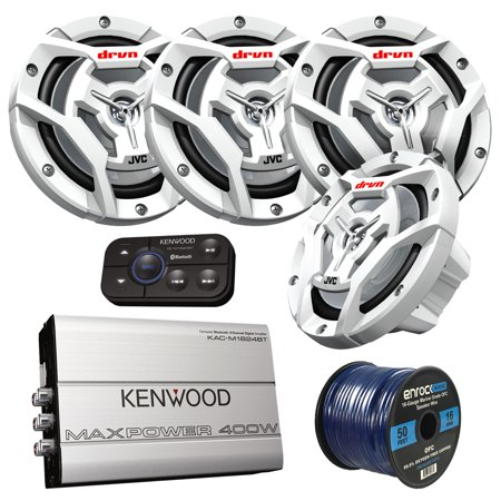 Marine Speaker And Amp Package: 4x JVC CS-DR6201MW 300-Watt 6.5
