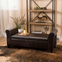 Stetson Armed Brown Storage Bench