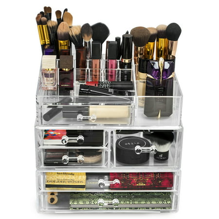 sorbus acrylic cosmetics makeup and jewelry storage case. Black Bedroom Furniture Sets. Home Design Ideas