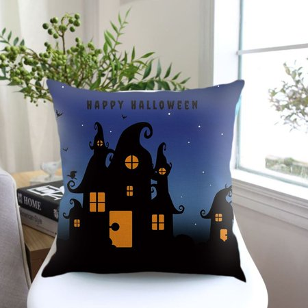 Halloween Night Pumpkin Letter Printed Cushion Cover Linen Cotton Pillowcase - image 5 of 8