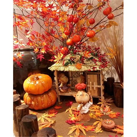 GreenDecor Polyster 5x7ft Halloween Backdrop Photography Harvest Festival Pumpkins Puppets Fruits Scene Photo Background for Photo Studio Props