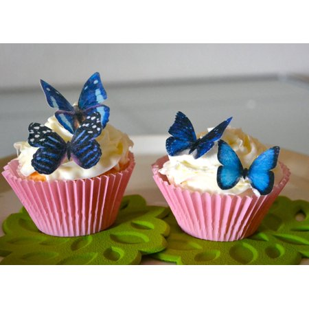 Edible Butterflies © - Small Assorted Blue Set of 24 - Cake and Cupcake Toppers, Decoration](Packers Cake)