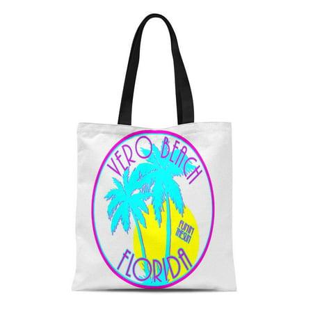 ASHLEIGH Canvas Tote Bag Pink Vacation Vero Beach Florida Large Blue Fun Sun Reusable Handbag Shoulder Grocery Shopping (Vero Beach Shopping Mall)
