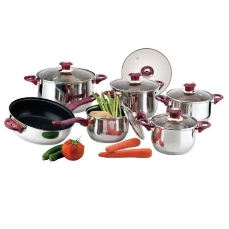 Alpine cuisine 12 piece stainless steel cookware with red for Alpine cuisine cookware