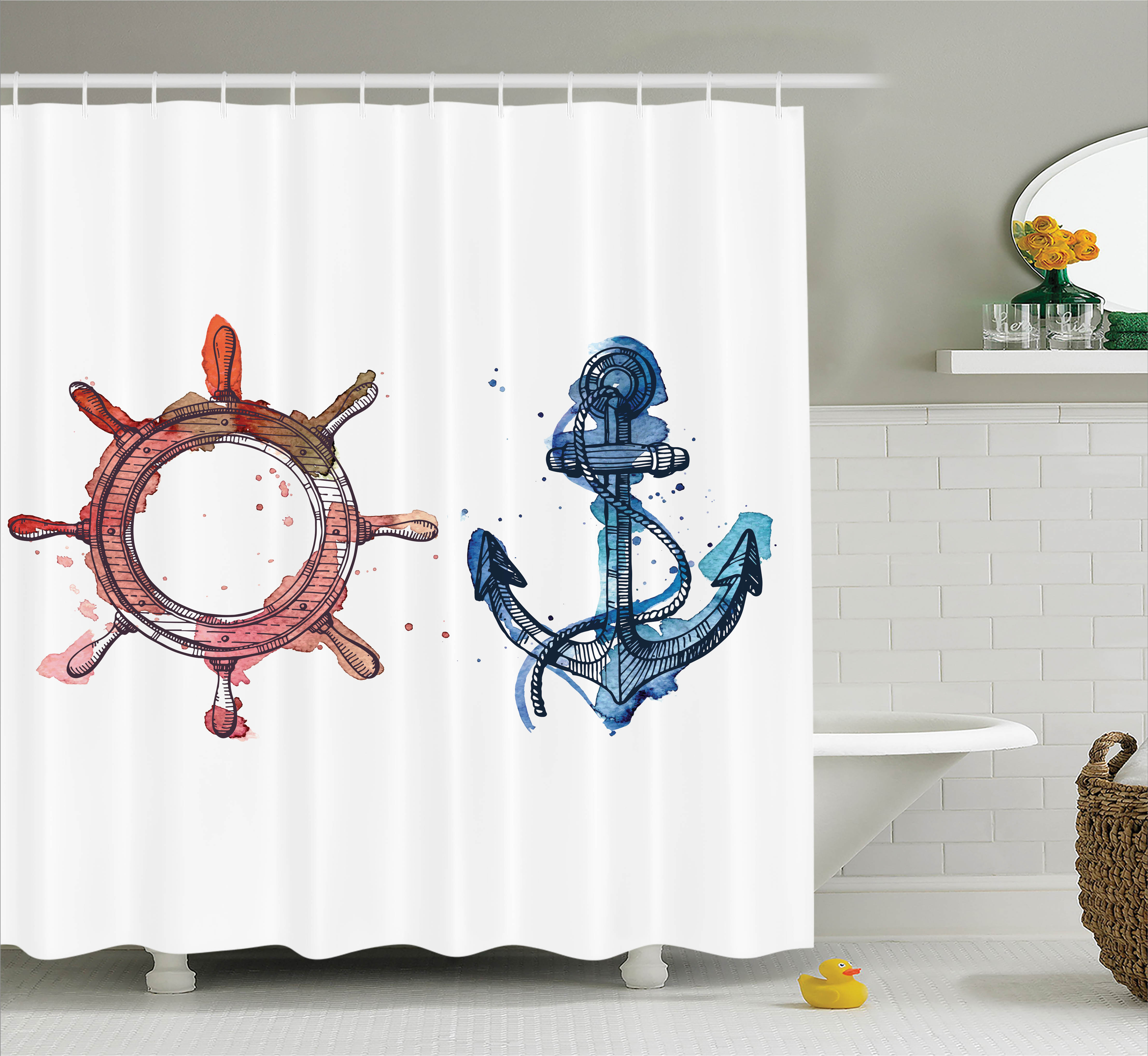 Nautical Decor Shower Curtain, Illustration Anchor and Steering Wheel with Watercolors Ink Brush Effects, Fabric Bathroom Set with Hooks, 69W X 75L Inches Long, Pink Blue, by Ambesonne