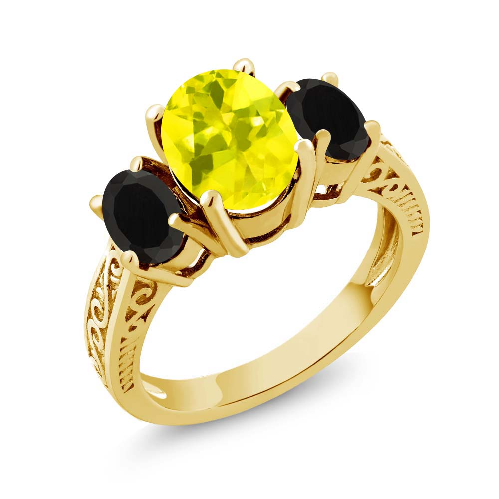 3.08 Ct Canary Mystic Topaz Black Onyx 925 Yellow Gold Plated Silver 3-Stone Ring