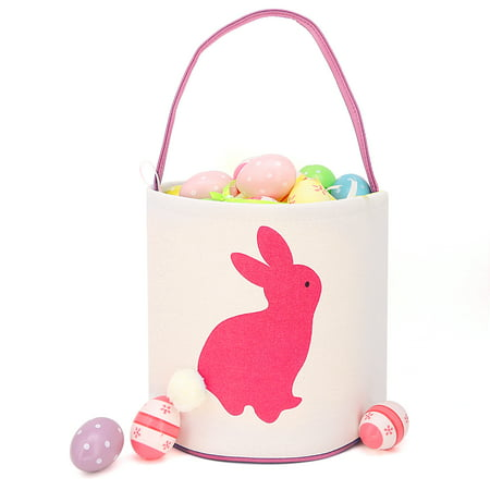 Easter Bunny Ears Basket Canvas Bags Buckets Tote Stuffers Egg Hunt for Girls and Boys - Pink