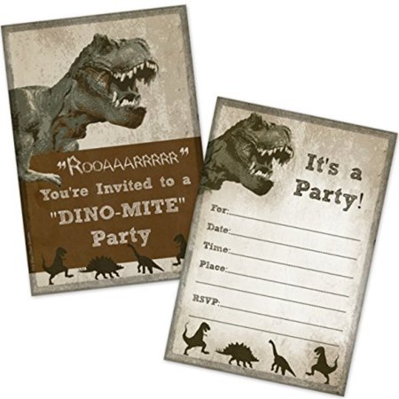 T Rex Dinosaur Birthday Party Invitations 20 Count With Envelopes