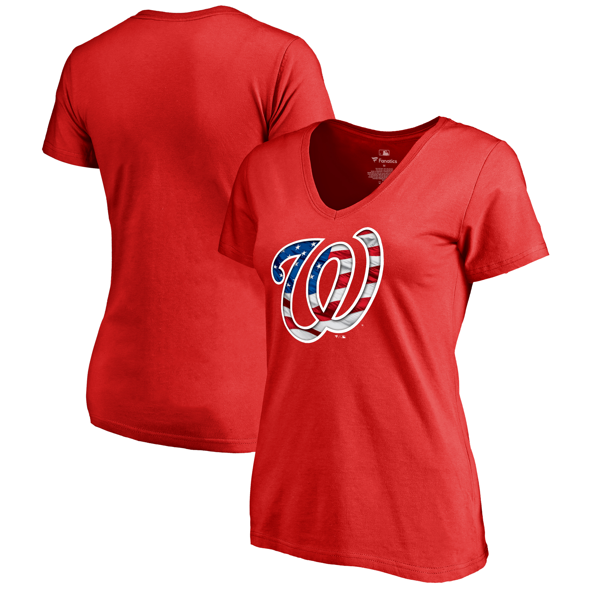 Washington Nationals Fanatics Branded Women's 2018 Memorial Day Banner Wave Plus Size T-Shirt - Red