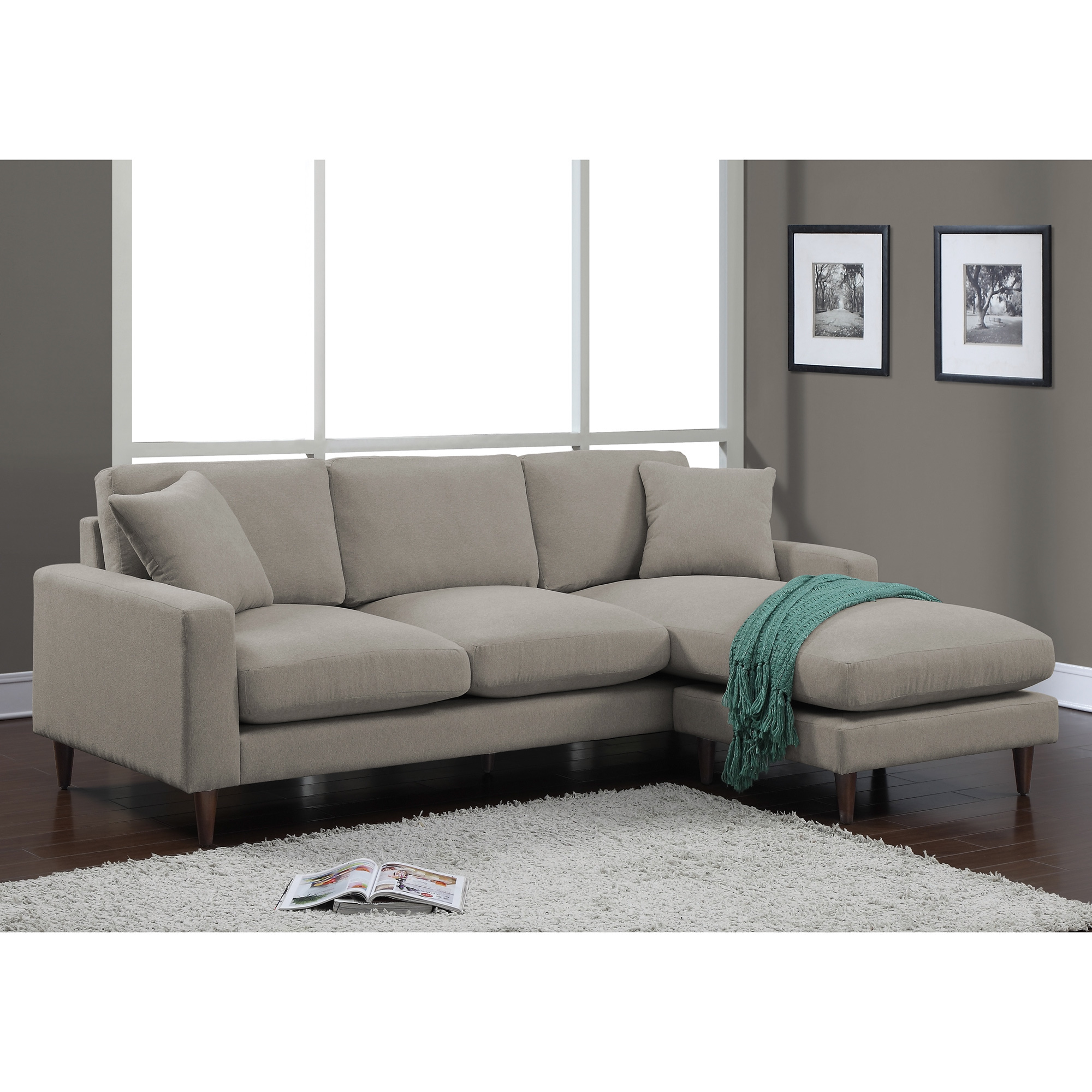 Dimensions Furniture Shaffer Grey Fabric Twopiece Sectional Sofa