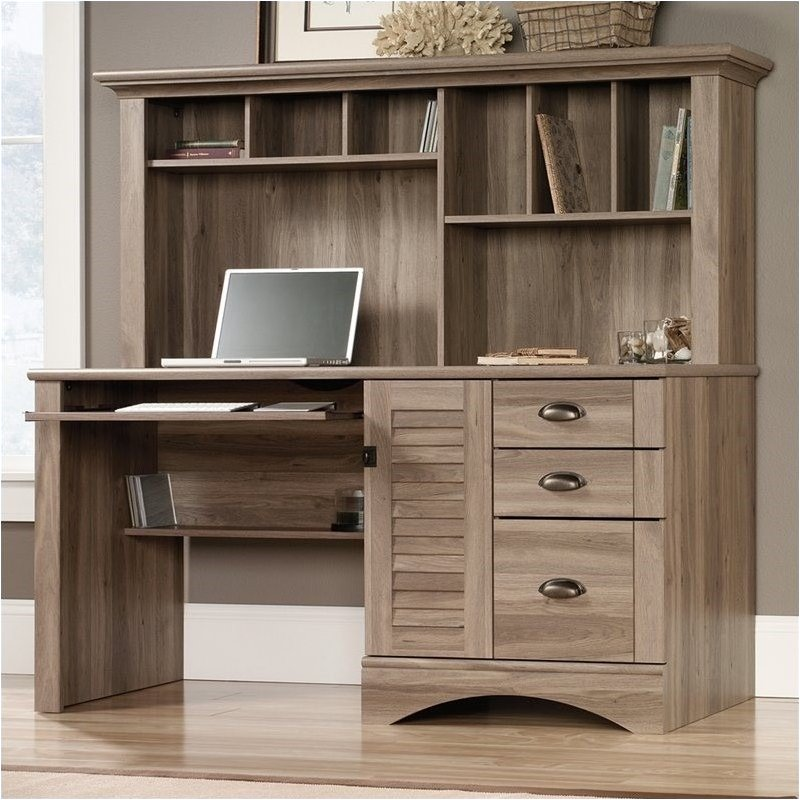 Pemberly Row Computer Desk with Hutch in Salt Oak