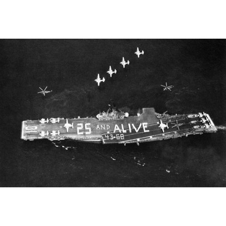 LAMINATED POSTER The U.S. Navy aircraft carrier USS Yorktown (CVS-10) underway, celebrating the 25th anniversary of h Poster Print 24 x 36