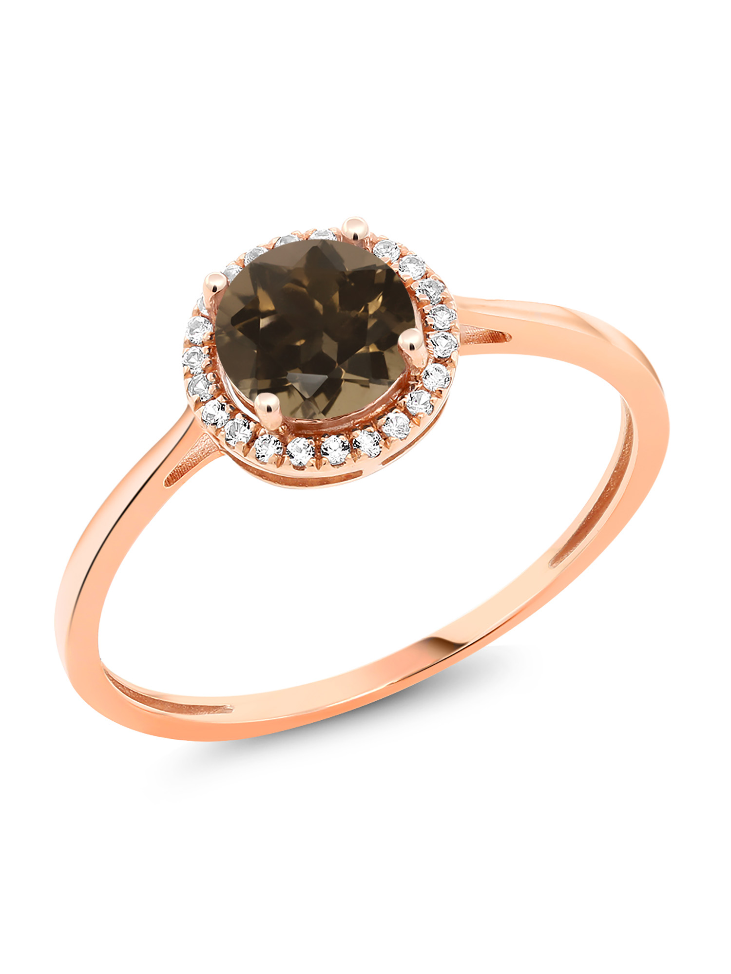 1.02 Ct Round Brown Smoky Quartz White Diamond 10K Rose Gold Ring