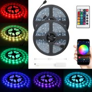 2 Piece RGB LED Light Strip, 32.8ft/16.4ft Waterproof Smart WiFi Controller Strip Light Kit 5050 SMD LED Lights Working with Android and iOS System