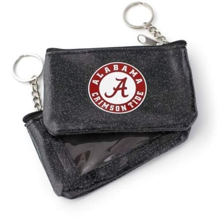 Alabama Crimson Tide Black Sparkle ID Coin Purse Keychain, See through ID pouch By (Id Coin Purse)