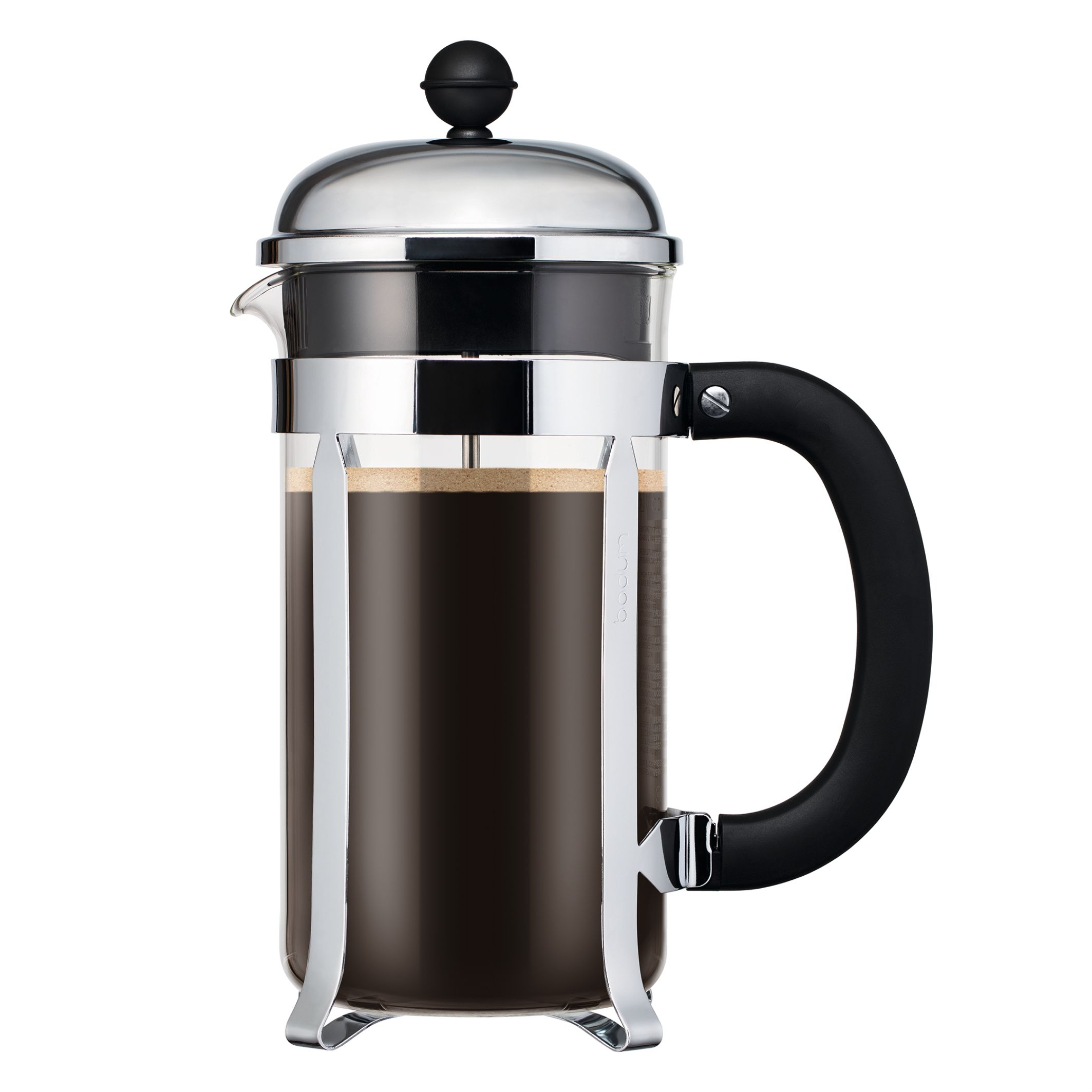 bodum chambord french press coffee maker with santoprene handle 1l 34oz 8 cup chrome. Black Bedroom Furniture Sets. Home Design Ideas