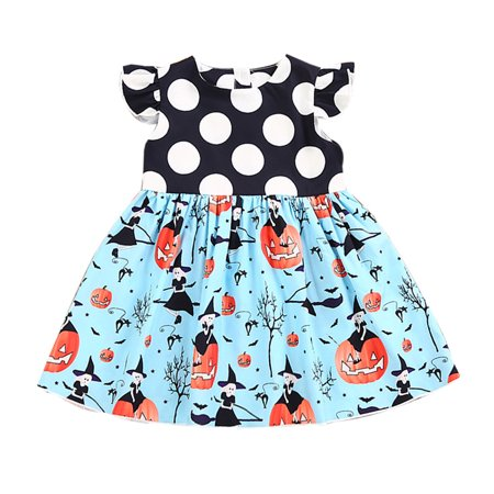 Toddler Kids Baby Girls Halloween Pumpkin Cartoon Princess Dress - Halloween Kids Cartoon