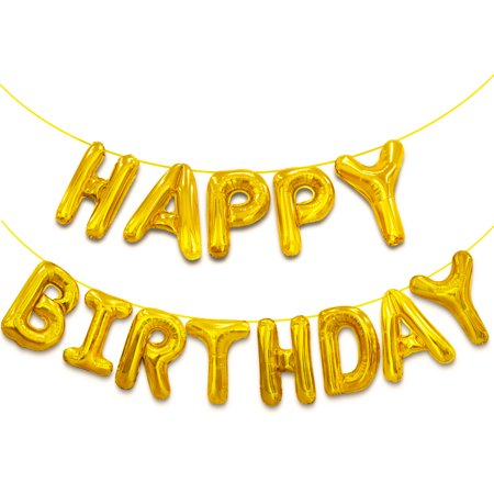 Novelty Place Happy Birthday Balloon Banner, Aluminum Foil Letters Banner Balloons for Party Supplies, Birthday Decorations - Gold Birthday Party Letter Banner
