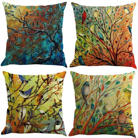 "Meigar Decorative Cotton Linen Throw Pillow Case Cushion Covers 18"" x18"" Summer Fashion Striped Decorative for Sofa, Bench, Bed, Auto Seat (Oil Painting  Birds and Branch)"