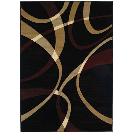 - United Weavers Contours Area Rugs - 510-21376 Solid & Striped Onyx Swirls Wavy Lines Stripes Rug