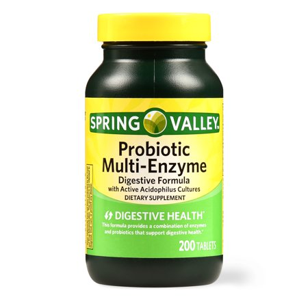 Spring Valley Probiotic Multi-Enzyme Digestive Formula Tablets, 200