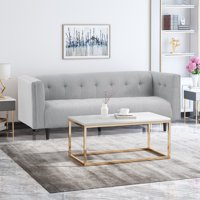 Kennedii Mid-Century Modern Fabric Upholstered Tufted 3 Seater Sofa, Light Gray and Dark Brown