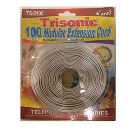 Trisonic Telephone Phone Extension Cord Cable Line Wire (100 Feet, White)