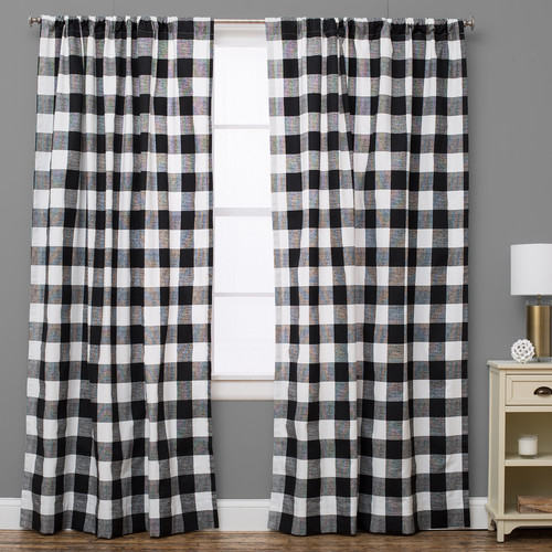 The Pillow Collection Plaid and Check Semi-Sheer Rod Pock...