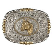 Montana Silversmiths Belt Buckle Heirloom Silver Gold 2600RTG-44
