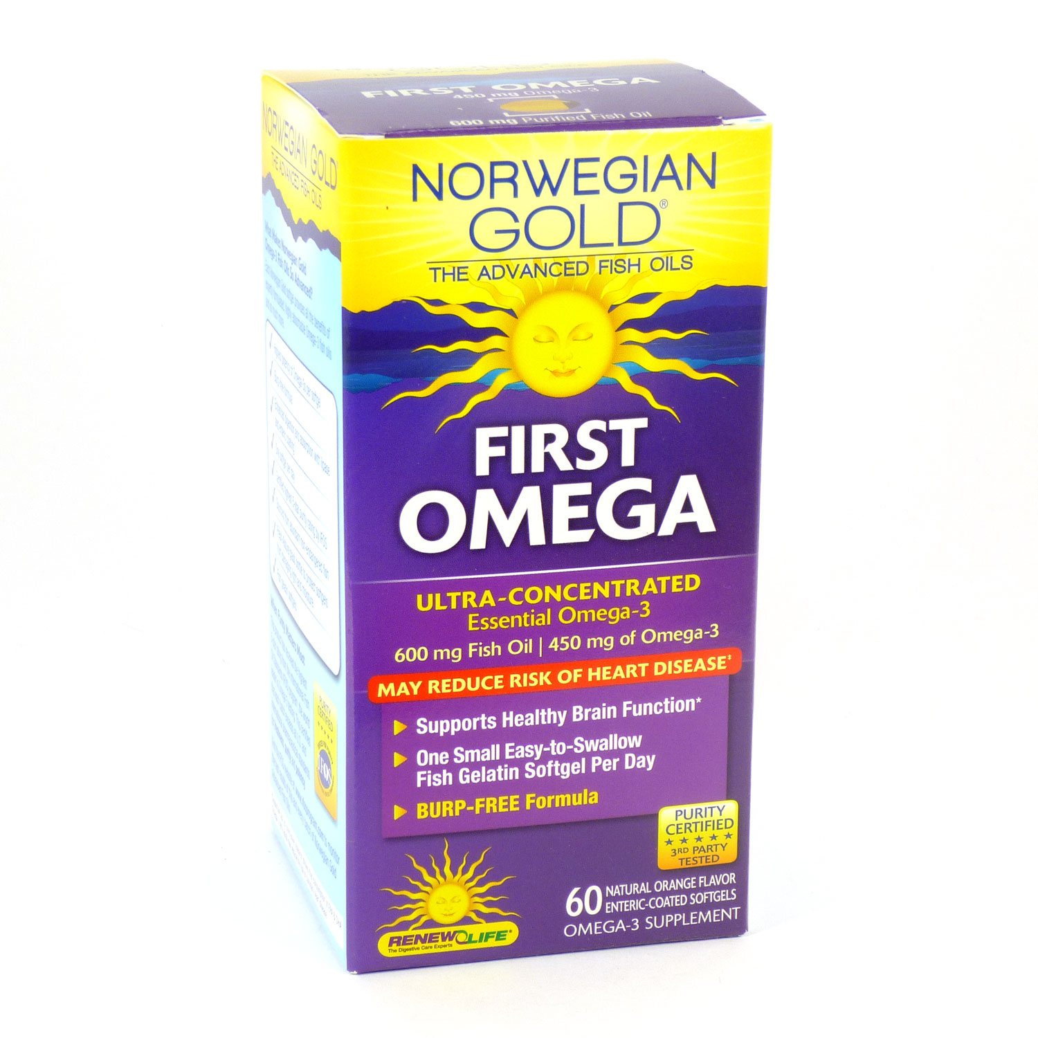 First Omega Norwegian Gold Ultimate Fish Oils By Renew Life - 60 Fish Gels