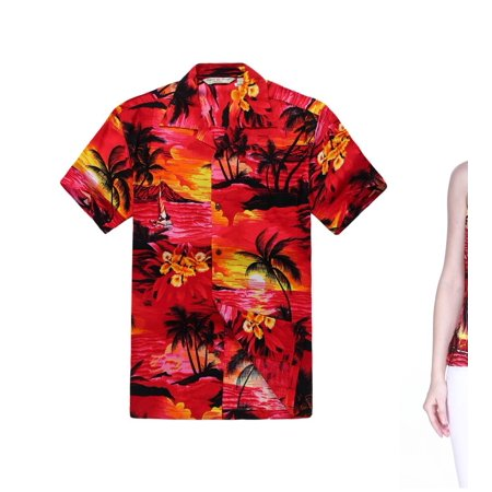 ae6c4acd Couple Matching Hawaiian Luau Outfit Aloha Shirt and Spaghetti Strap Top in Red  Sunset Men 2XL Women M