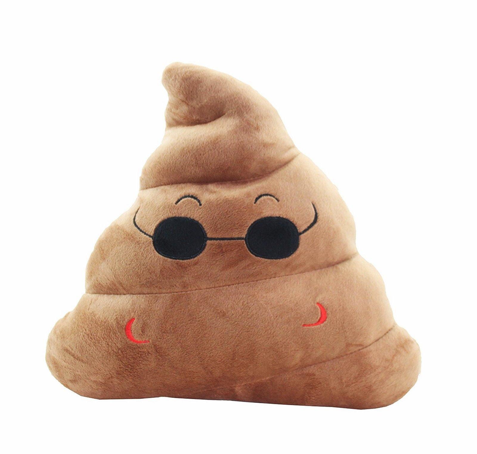 Emoji Sunglasses Poop Cushion Pillow Stuffed Plush Toy Pad Home