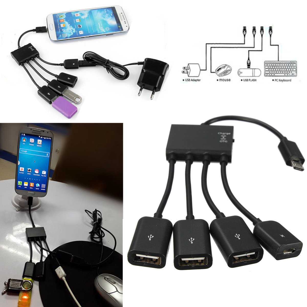 4 in 1 Micro USB Power Host OTG Hub Adapter Cable For Android Phone & Tablet PC