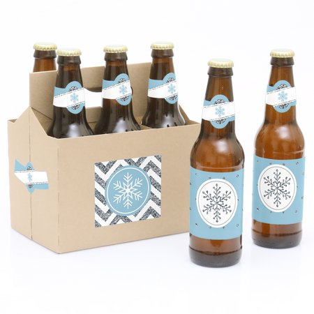 Winter Wonderland - Winter Wedding- 6 Beer Bottle Labels with 1 Beer Carrier](Beer Labels)