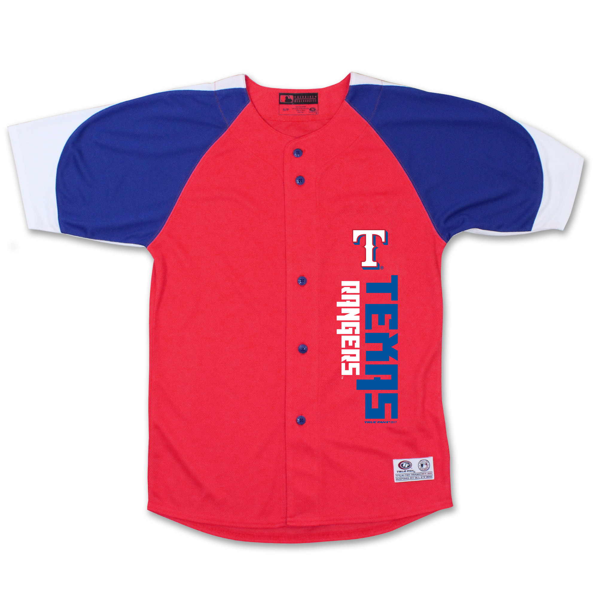 Texas Rangers Stitches Youth Vertical Jersey - Red/Royal