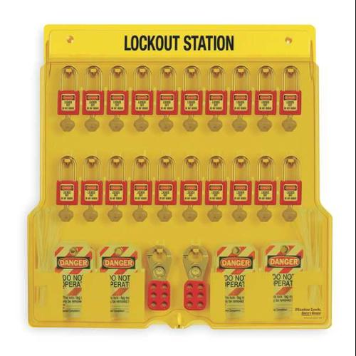 MASTER LOCK 1484BP410 Lockout Station, Filled, 72 Components