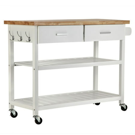 Homegear Open Storage V2 Kitchen Storage Cart w/ Rubberwood Cutting Block (Best Kitchen Cart With Knife Blocks)