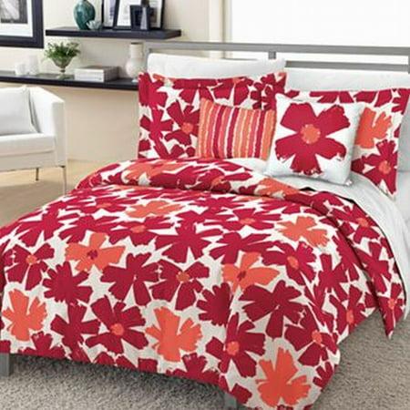 incredible hot pink orange bedroom | Loft Syle Pink & Orange Floral Full/Queen Bed Comforter ...