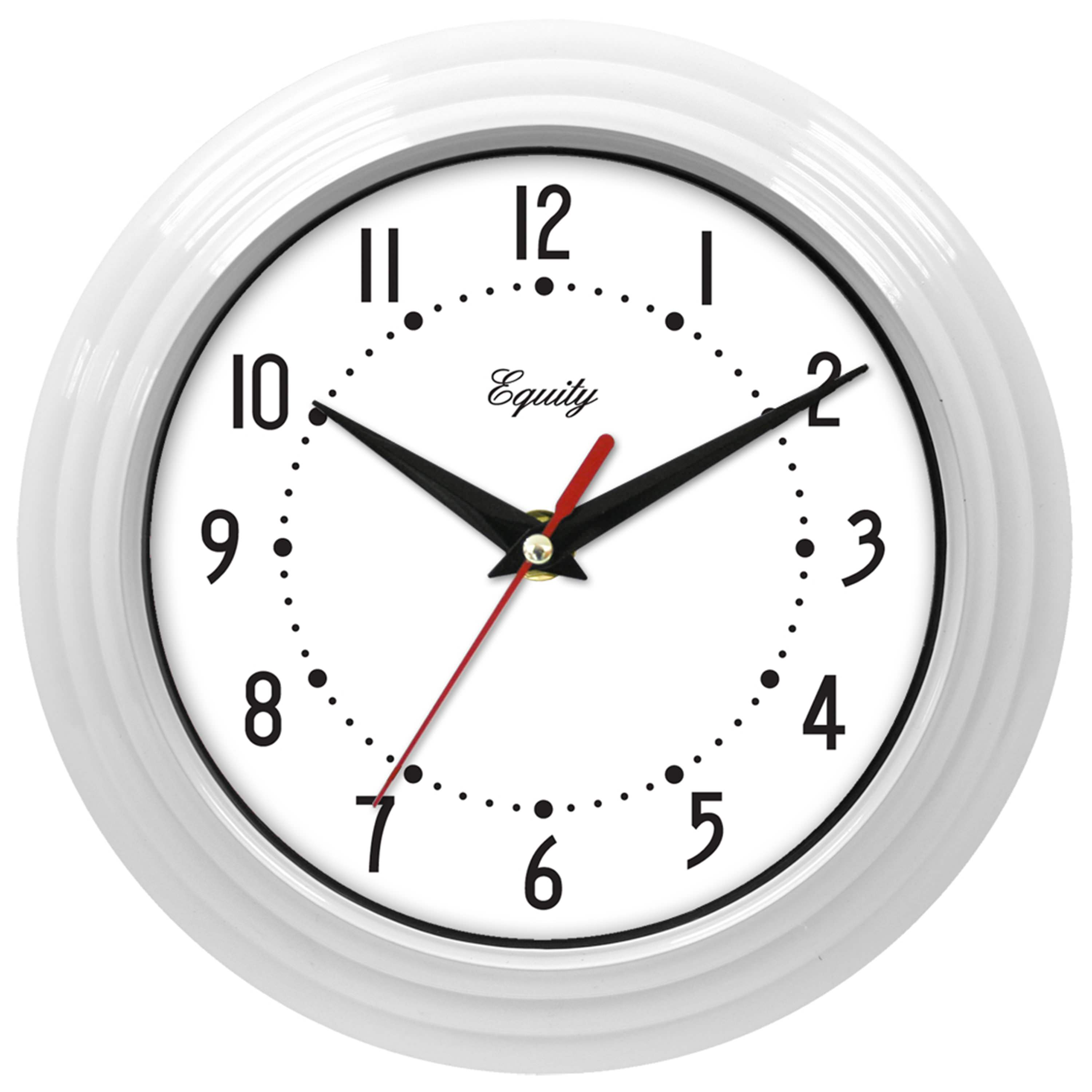 "Equity by La Crosse 8"" White Analog Wall Clock"