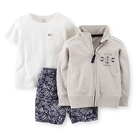 Baby Boys' 3-Piece Cardigan & Short Set - Grey - 6 (Baby Boy Cardigan)