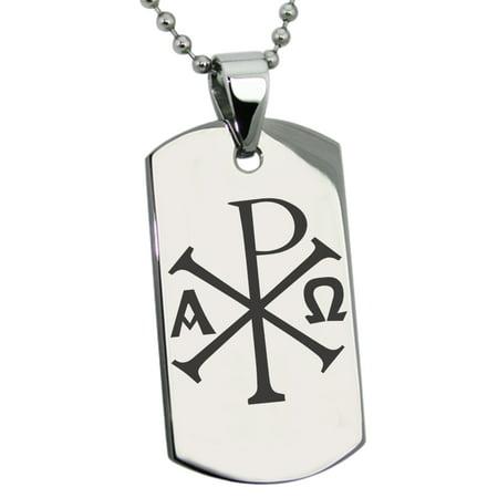 X Men Symbol (Stainless Steel Chi Rho Alpha Omega Symbol Engraved Dog Tag)