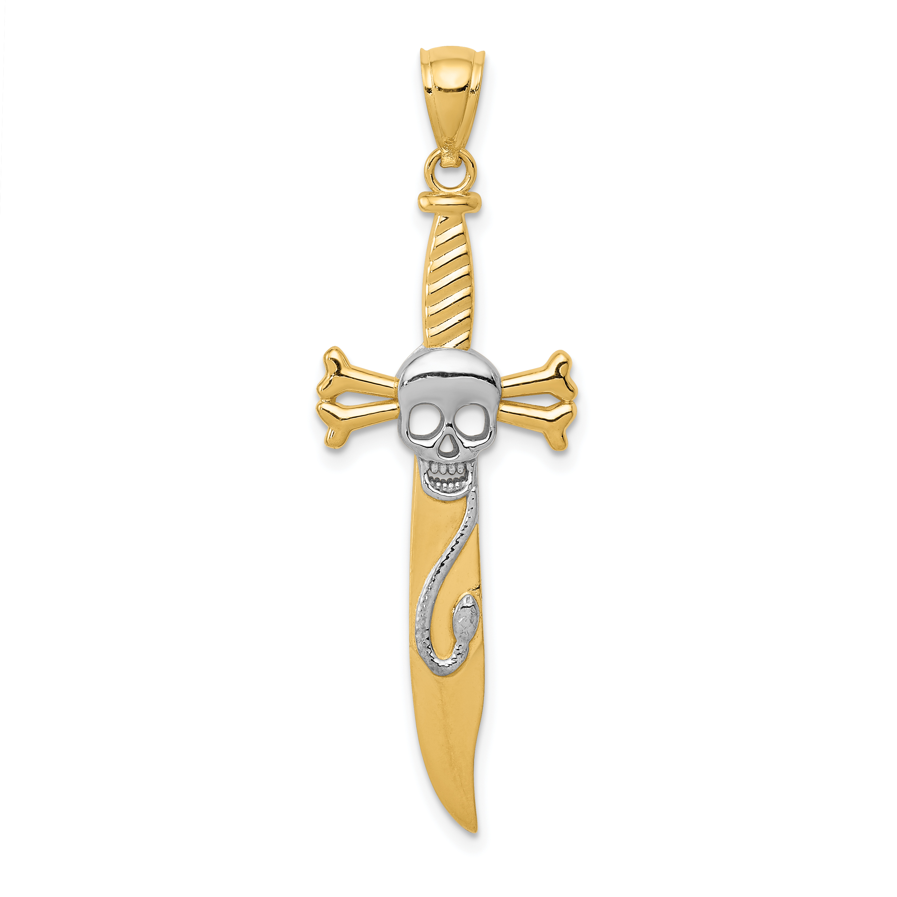 14k Yellow Gold Skull Sword Pendant Charm Necklace Dagger Dragon Man Fine Jewelry Gift For Dad Mens For Him - image 2 of 2