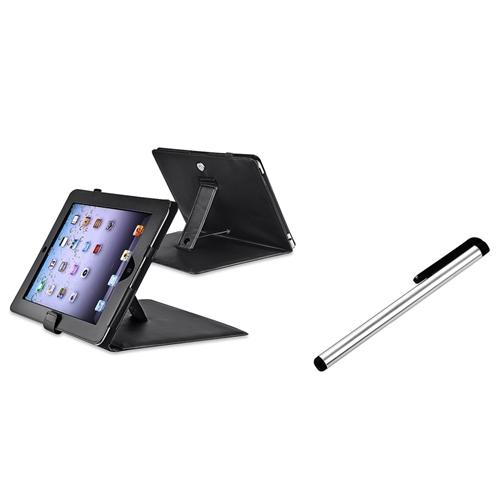 Insten Black Leather Case with Stand+Touch Screen Stylus FOR iPad 1 16 32 64GB