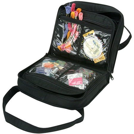 Yazzii Black Quilted Cotton Oval Craft Organizer Bag 12