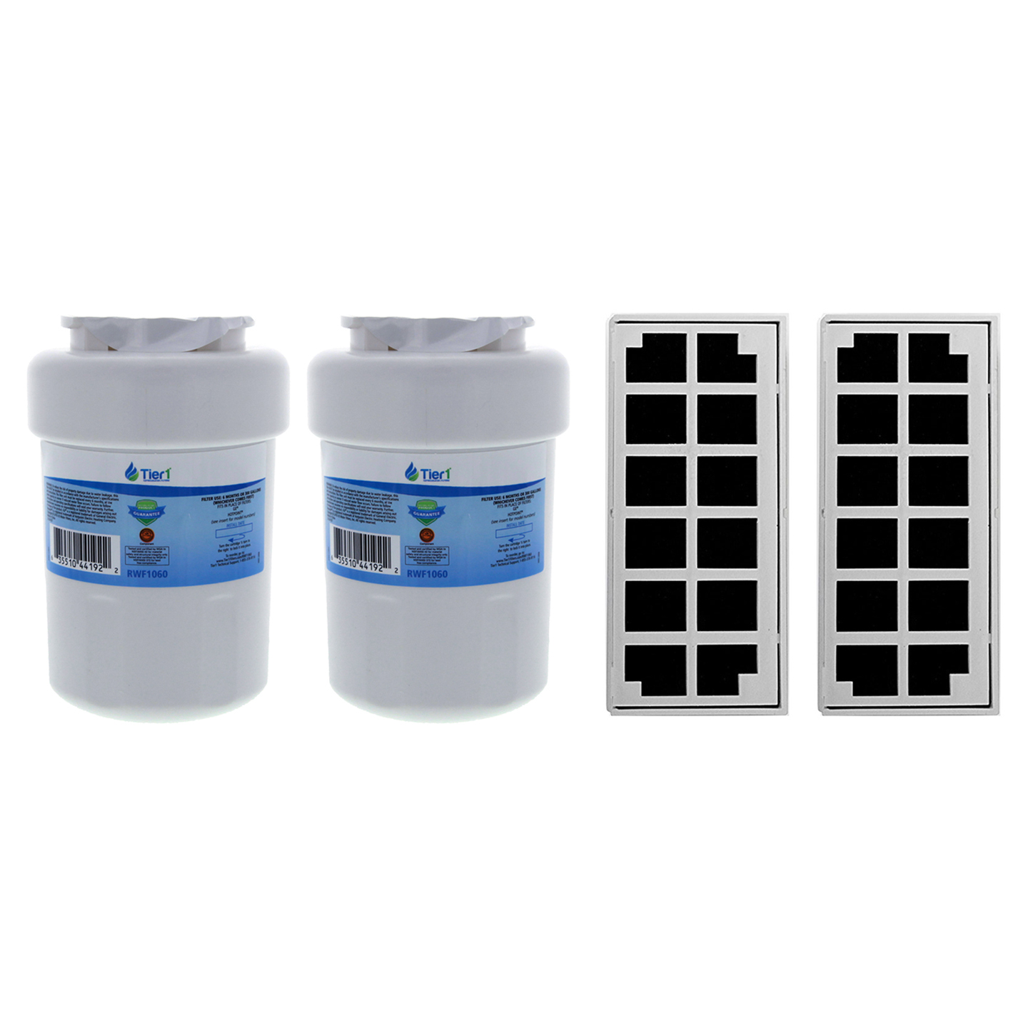 Tier1 Replacement for GE MWF SmartWater, MWFP, MWFA, GWF, GWFA, HWF, 46-9991, 469991, 469905, 469996 Water and Odor Filter Combo 2 Pack