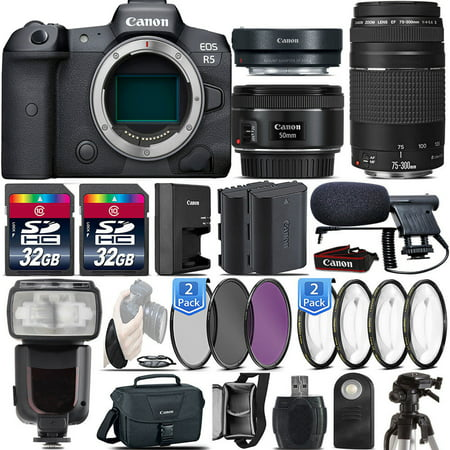 Canon EOS R5 Mirrorless Digital Camera with | Canon 50mm 1.8 STM | Canon 75:300 III : 64GB Premium Package