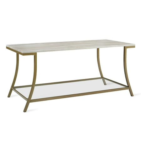 Novogratz Cecilia Coffee Table, Soft Brass, Faux Marble